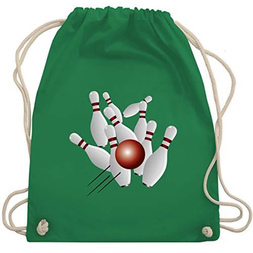 Shirtracer Bowling & Kegeln - Kegeln alle 9 Kegeln Kugel - Unisize - Grün - Bowlingkugel - WM110 - Turnbeutel und Stoffbeutel aus Bio-Baumwolle