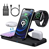 AMZLIFE Wireless Charger,15W Fast Kabellose Ladegerät,4 in 1 Induktive ladestation Kompatibel mit iPhone 12/11 Pro Max/XS/XR/X/8, Apple Watch SE/5/4/3,Airpods Pro/2,Samsung S21 Mit 18W QC 3.0 Adapter