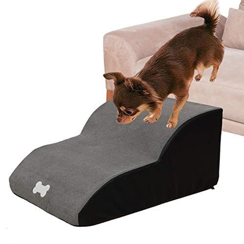 Escaleras de Esponja Perros de 2/3 Pasos,Escalera para Mascotas,sofá Cama,Escalera Antideslizante para Mascotas Perros Pequeños y Gatos con Funda Extraíble y Lavable,Gris,2 Layer