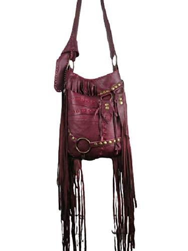 Bolso de Flecos Burdeos/Bolso de Cuero Mujer Boho Hippie