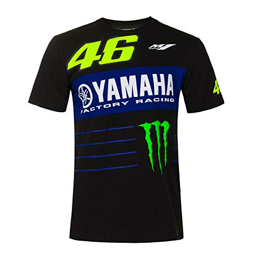 Valentino Rossi T-Shirt VR46 Yamaha M1 Dual Monster Energy Officiel MotoGP Noir - M