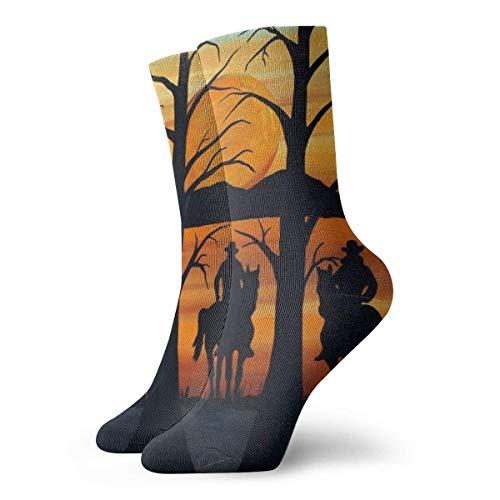 Love girl Pintura occidental con silueta Cowboys Calcetines de tobillo personalizados Medias atléticas Calcetines casuales 30cm Para hombres Mujeres