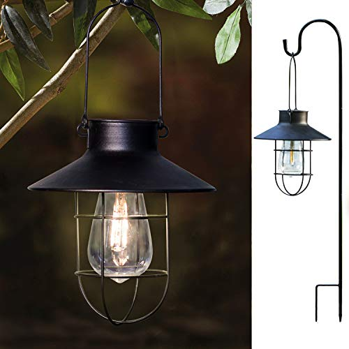 2 Pack EKQ ROJOY Hanging Solar Lights Lantern Lamp with Shepherd Hook, Metal Waterproof Edison Bulb Lights for Garden Outdoor Pathway (Black)