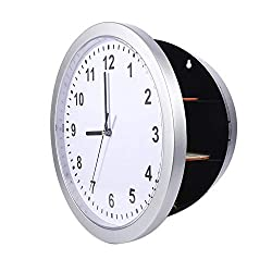 Wall Clock Safe, Abs Silver Secret Safe Container Box Wall Clock with Three Shelves for Jewelry/Valuables/Cash/Money Stash Storage