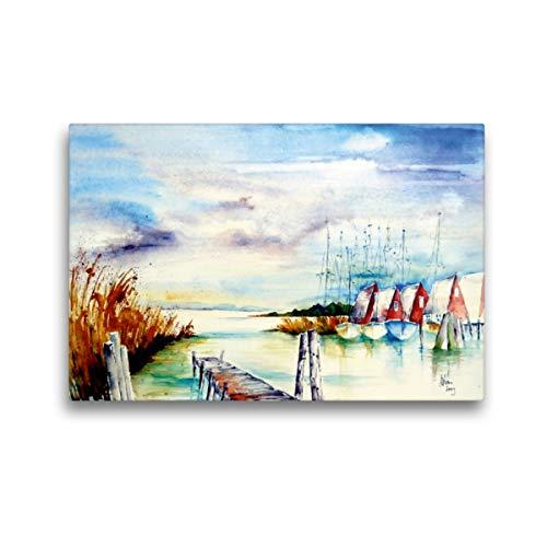CALVENDO Premium Textil-Leinwand 45 x 30 cm Quer-Format Am Bodden, Leinwanddruck von Brigitte Dürr