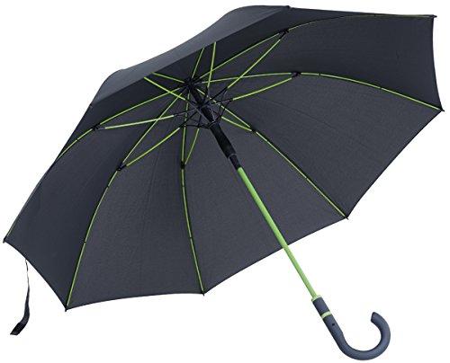 vanVerden - Automatik Regenschirm - Sturmfest (TÜV geprüft), Windfest, Leicht, Stabil - Fiberglas Rahmen 112cm Durchmesser, 90cm Länge, Farbe:Anthracite/Lime