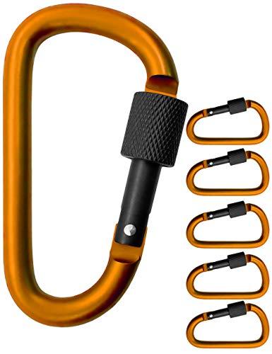 Outdoor Saxx® - 5X grote schroef-karabijnhaak voor bevestiging van uitrusting, aluminium, 8cm, oranje, zwart, pak van 5