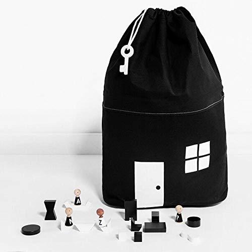 ZXXFR Opvouwbare wasmanden, black house vorm, grote babyzakken canvas huisvorm ophangen met trekkoord tasje, huishouden opslag organisatie