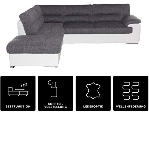 Mivano Schlafsofa Lucky, Sofa in L-Form mit Schlaffunktion und Stauraum, 279 x 93 x 232, Materialmix, Weiß/Grau