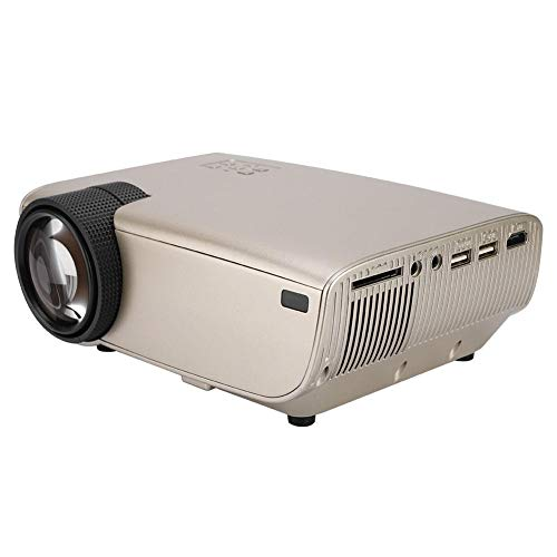 Mini-videoprojector 1280 * 800 voor thuis / op kantoor, draagbare HD-projector met 3500 lumen voor thuisbioscoop, ingebouwde luidspreker, mini-multimediaprojector voor pc / tv / tablets / U-schijven / camera's (EU-goud)