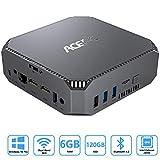 Mini-PC Windows 10 Pro, ACEPC 6GB RAM/ 120GB ROM Intel Celeron J3455 Tragbarer Mini-Computer, Unterstützung 2,5' SSD/Dual HDMI/ 1000Mbps LAN/Dual Band WLAN/BT 4.2/ 4K HD/VESA Halterung