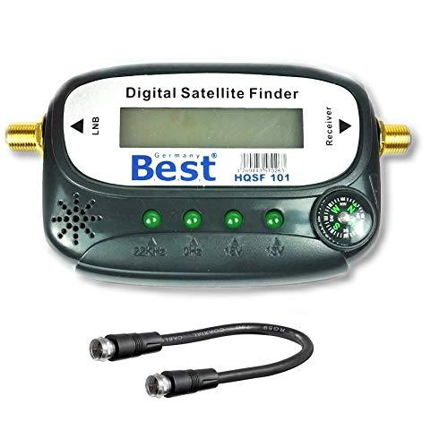 Satfinder Messgerät mit Ton, Verbindungskabel, vergoldete F-Stecker Anschlüsse zur Justierung Ihrer Sat Antenne HD TV-fähig (Digital, Satfinder)