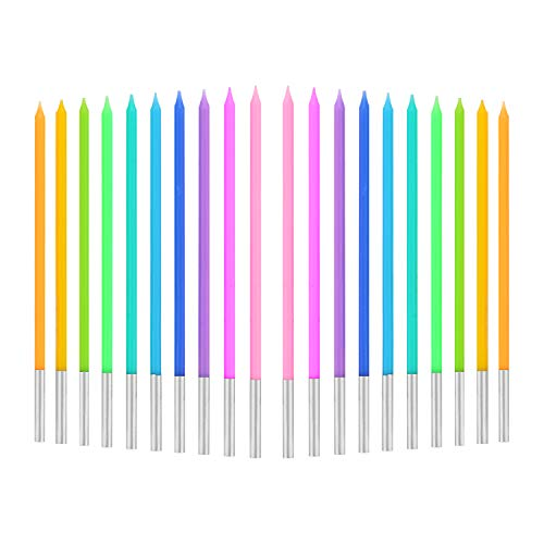 TOYMIS 20 Pieces 5.5 x 0.2 Inches Birthday Cake Candles with Rainbow Color Long Tall Cupcake Candles for Birthday Wedding Baby Shower Party Decoration