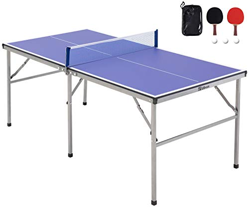Ubon Foldable Small Size Ping Pong Table60quot x 30quot PreAssembled Poratable Table Tennis Table with Detachable Net 2 Paddlesamp3 Balls
