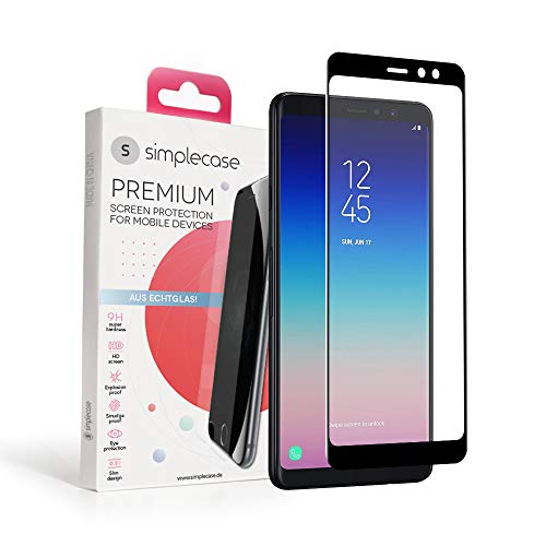 Simplecase Panzerglas passend zu Samsung Galaxy A8 (2018) , FULL SCREEN Premium Bildschirmschutz , 100prozent Abdeckung , Optimaler Schutz , Extra Festigkeitgrad 9H , Schwarz - 1 Stück