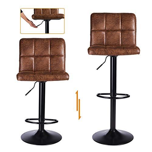DICTAC Barhocker 2er Set höhenverstellbare Barstühle 360° Drehstuhl Bistrohocker mit Rückenlehne Barstuhl extra breit für Hausbar Einfache und schnelle Montage (Schokolade-A)