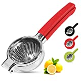 Playoos Lemon Squeezer Stainless Steel,Manual Fruit Juicer,3.35 Inch Large Bowl Citrus Press, Squeezer Juicer with Food Grade Red Silicone Handles,Large Hand Juicer Citrus Squeezer Lime Squeezer