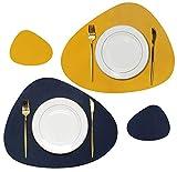 Olrla Tischset und Untersetzer aus PU-Leder zweifarbig, 4 Platzsets und 4 Untersetzer für die Hausparty bei Dinnerpartys (Blau + Gelb)