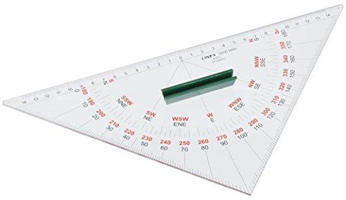 LINEX 100413035 Navigation Kursdreieck 3200MRH, Nautischer Winkelmesser, Hypotenusenlänge 320 mm, innenligender Nullpunkt