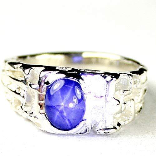 NATURAL BLUE STAR SAPPHIRE Sterling Silver Men's Ring •SR197