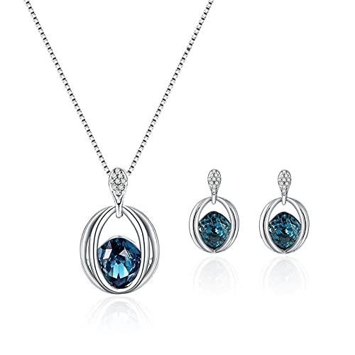 Señoras De La Moda De Cristal De Diamantes Pendientes Colgantes Collar Joyería Conjunto De Joyas