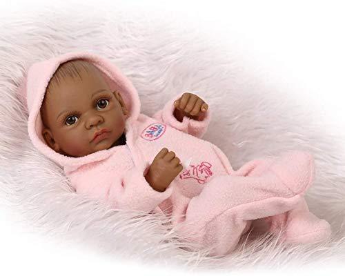 Muñeca de baño para bebé Reborn, Estilo Indio, Piel Negra, simulación Dura, Vinilo de Silicona, 10 Pulgadas, 26 cm, Juguete Infantil Impermeable, niña Rosa con Ojos acrílicos