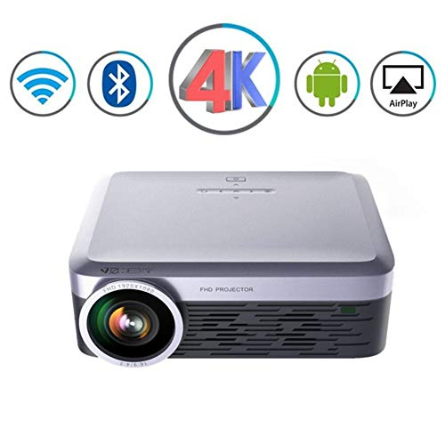 ZXL Beamer 3000 lumen draagbare projector Full HD LED LCD Android WiFi Video Bluetooth Airplay Miracast Wireless 4K TV Intelligente thuisbioscoop projector, Gray
