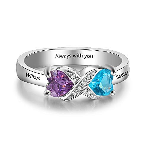 Love Jewelry Personalized Infinity Mothers Ring with 2 Heart Simulated Birthstones Engagement Promise Rings for Women (Silver, 7)