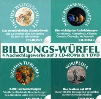 Bildungs-Würfel, Wikipedia, Weltgeschichte, Naturwissenschaften und Tierlexikon 3 CD-ROMs & 1 DVD-ROM Fischer Weltgeschichte, Naturwissenschaften, Brehms Tierleben, Wikipedia. Für Windows und Mac.