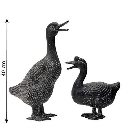L'ORIGINALE DECO Couple de Canards Canne Echassier Oiseaux de Jardin Fonte M : 40 cm - F : 25 cm