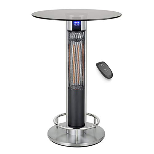 DJLOOKK Bar Table Heater with Remote Control,Power Adjustable Electrical Carbon Infrared Stand Patio Heater with Foot Bracket and Wheels IP55 Approved 800W/1600W