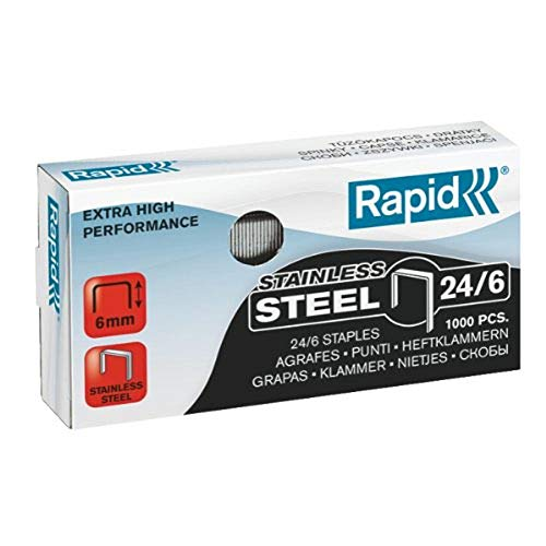 RAPID 24858100 - Caja 1000 grapas 24/6 mm Super Strong acero inoxidable