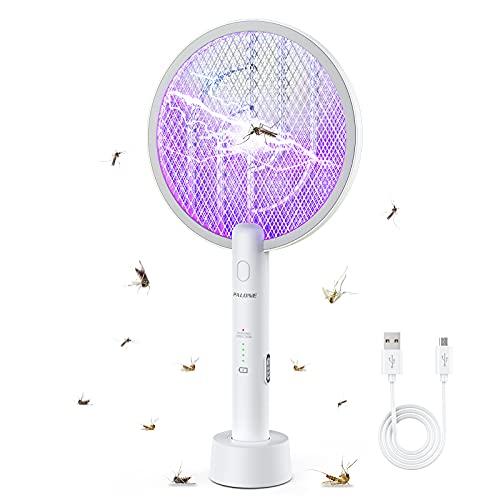 PALONE Raqueta Matamoscas Eléctrica, Asesino de Mosquitos con Base, Dos Modos, Protección de Malla de Tres Capas, para Uso en Interiores y al Aire Libre
