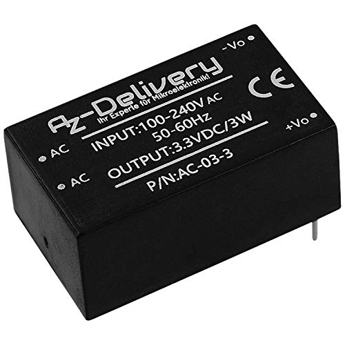 AZDelivery 220V zu 3,3V Mini-Netzteil kompatibel mit Arduino und Raspberry Pi inklusive E-Book!
