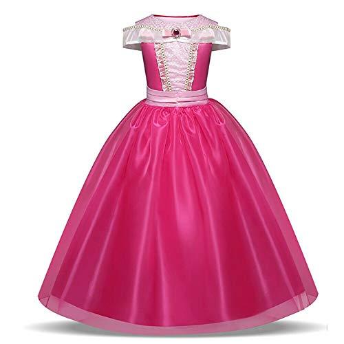 Costume da principessa Aurora della Bella Addormentata, colore rosa acceso, per bambine, età 3-10 anni rosa 5-6 Years, Height 116 cm