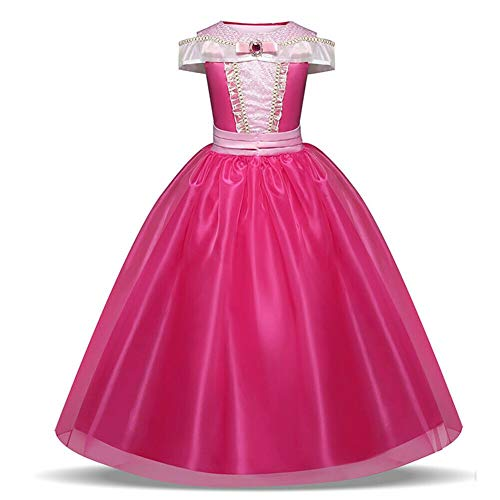 Disfraz de princesa Aurora para niñas de 3 a 10 años, color rosa fuerte Rosa hot pink 3-4 Years, Height 104 cm