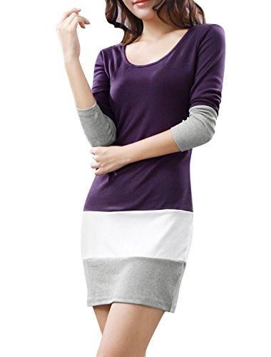 Allegra K Women Long Sleeve Color Block Tunic Slim Fit Dress S Purple