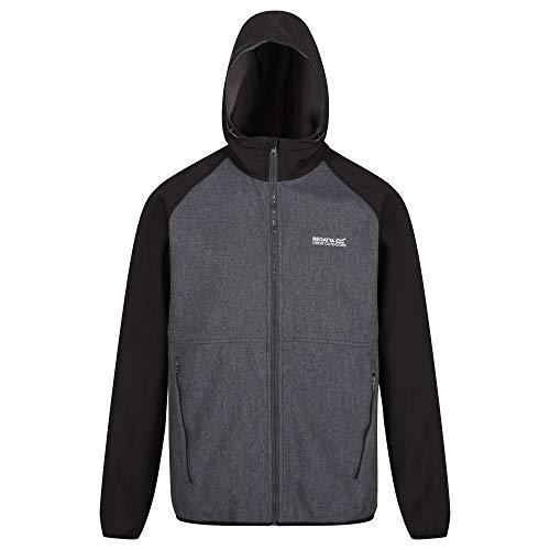 Regatta Men Arec II' Extol Stretch Water Repellent Hooded Wind Resistant Jacket Soft Shell - Magnet/Black, 2X-Large