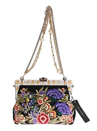 100% Authentic Dolce & Gabbana Multi-Colored Embroidery Silk Inner Lining and Mirror Strap can be Folded Inwards Made in Italy