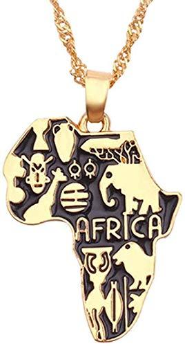 niuziyanfa Co.,ltd Collares de Mapa de aleación, Colgantes de país, Accesorios de joyería con Bandera, Cadena de Hip Hop de Acero Inoxidable para Hombres, Regalos