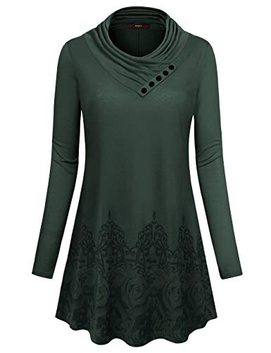 Zulily Tunics for Women Gaharu Misses Business Casual Top Fall Warm Long Sleeve Trapeze Tunic Sweatshirt to Wear with Leggings for Work Semi-Formal Office Wear(X-Large,Green)