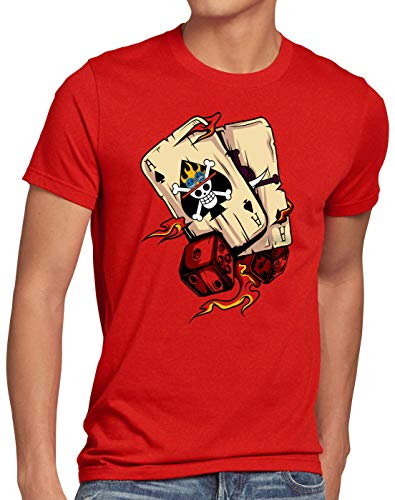 style3 One Ace Camiseta para Hombre T-Shirt Poker Piece Sombreros Anime Manga, Talla:M, Color:Rojo