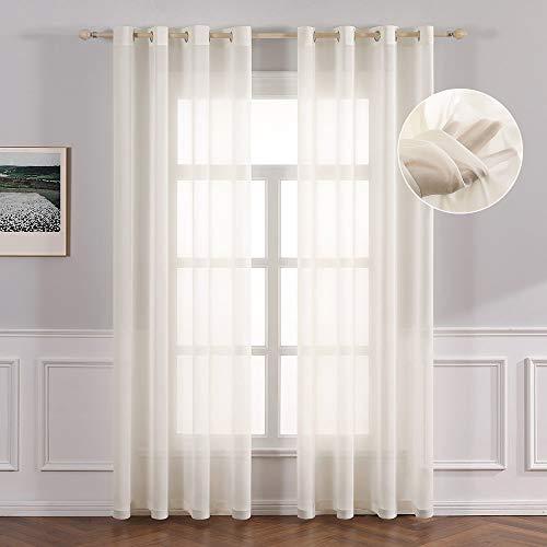 MIULEE 2er Set Sheer Voile Vorhang mit Ösen Transparent Gardine Polyester Ösenschal Wohnzimmer Luftig Einfarbige Durchsichtig Vorhänge Dekoschal für Schlafzimmer 140 X 225 cm (B x H)
