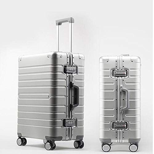 SFBBBO luggage suitcase 100% Aluminium hand luggage spinner metal large hard trolley suitcase with wheels 24' SILVER
