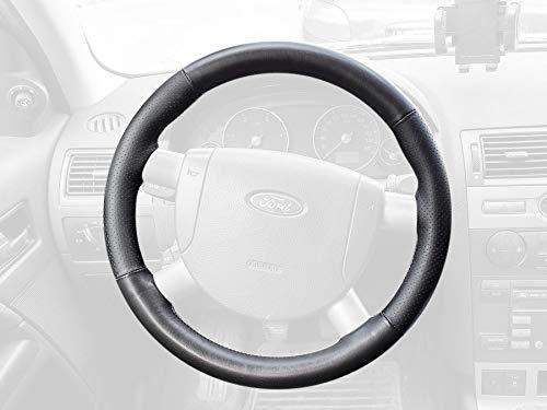 RedlineGoods Cubierta del Volante Compatible con Ford Mondeo Mk3 2000-07 Cuero Sierra Costura Negra