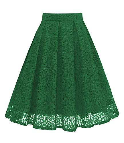GirstunmBrand Damen Vintage A Linie Spitze Rock mit Taschen Grün M