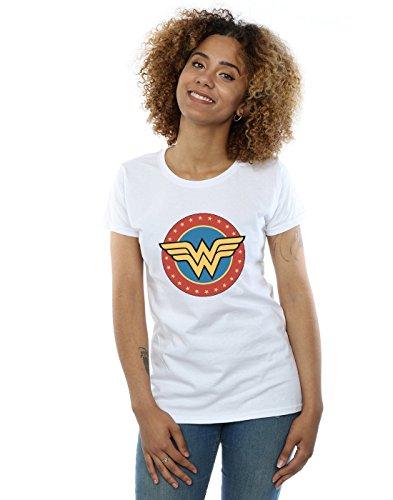 DC Comics Mujer Wonder Woman Circle Logo Camiseta Blanco Medium