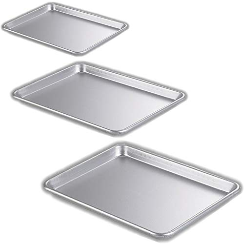 """Bakeware Set – 3 Aluminum Sheet Pans – Half Size (13"""" x 18"""") Quarter Size (9"""" x 13"""") Eighth Size (9"""" x 7"""") Toaster oven Tray – for Commercial or Home Use. Perfect Baking Supply set for gifts."""