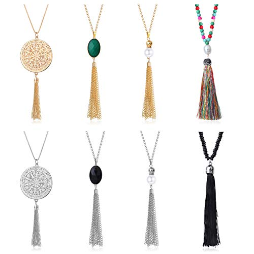 LOYALLOOK 8 Pieces Long Statement Pendant Necklaces Set for Women Disk Circle Chain Tassel Pearl Boho Beads Pendant Necklaces Fashion Jewelry
