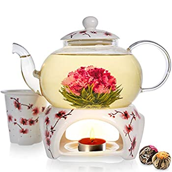 Teabloom Cherry Blossom Teapot & Flowering Tea Gift Set - Stovetop Safe Glass Teapot  27 OZ / 800 ML / 2-3 Cups  Porcelain Lid Loose Tea Infuser Tea Warmer + Candle 2 Gourmet Flowering Teas